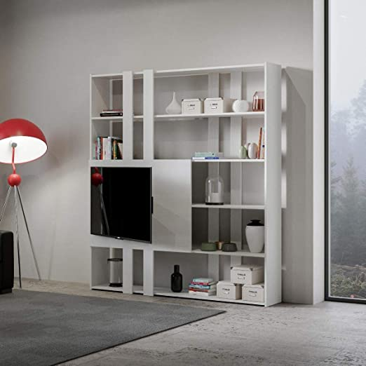 Itamoby, librería y Porta TV de Pared de Madera Kato H con 6 ...