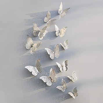 NIHML 12 Unids 3D Hueco Mariposa Etiqueta de La Pared Para La ...