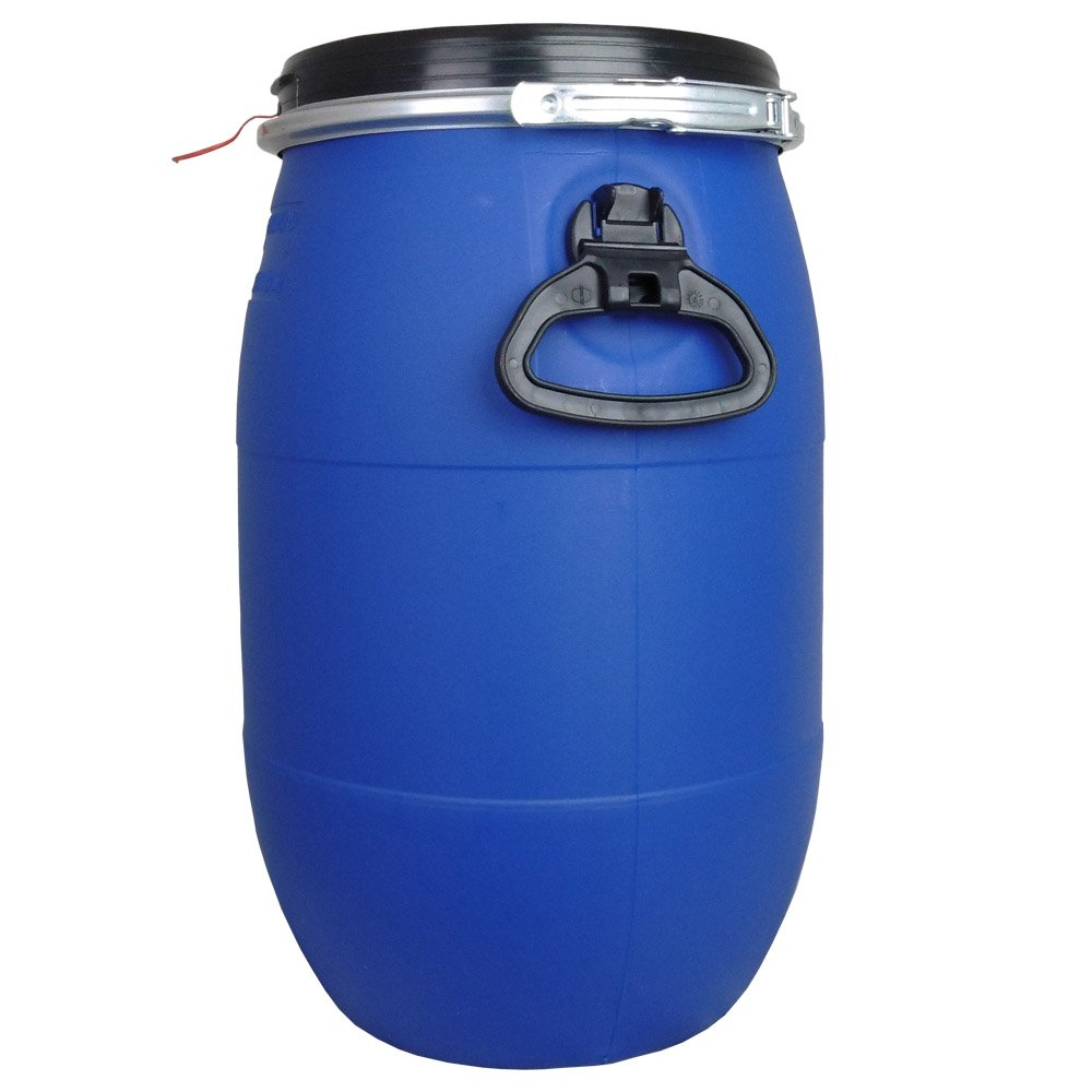 30 L, Ltr, Litre Plastic Blue Open Top Keg, Drum for Storage, Food Grade with Securing Ring, Un Approved for Solids with FREE POSTAGE Mauser