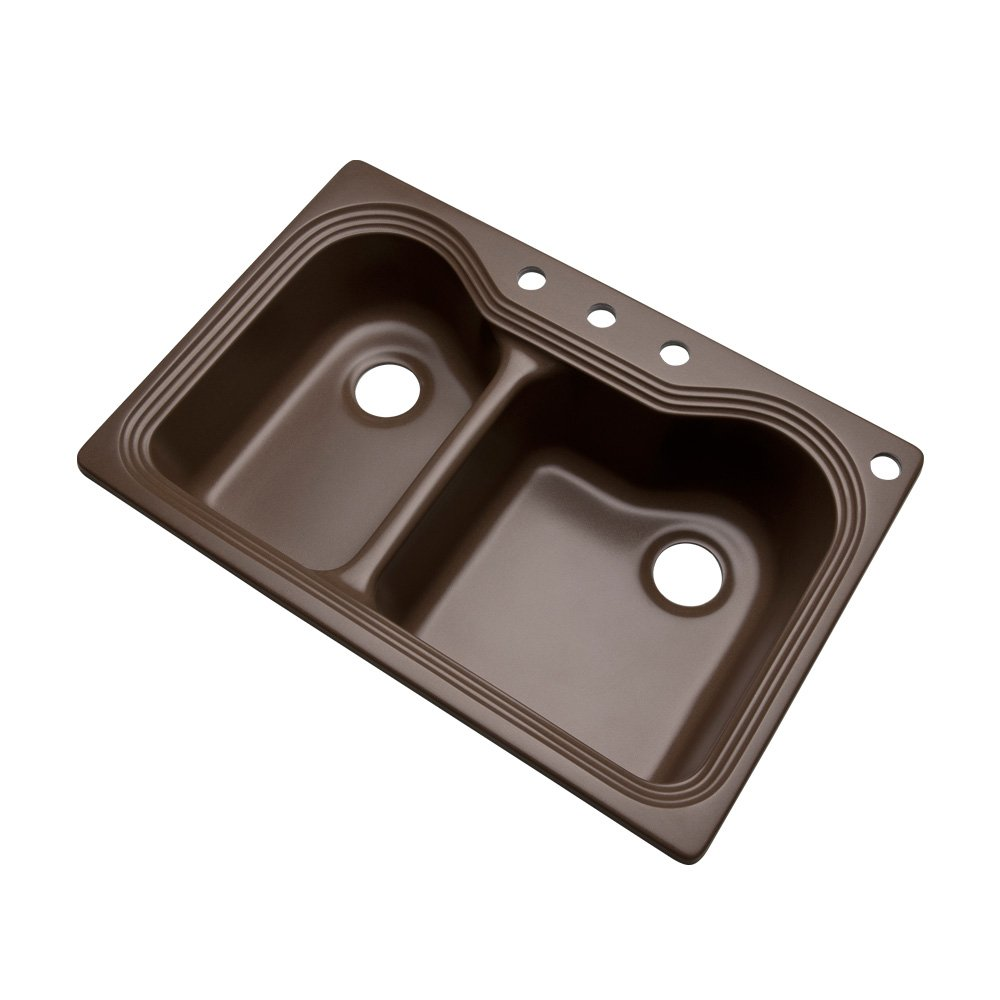 Dekor Sinks 56492Q Buckingham Composite Granite Double Bowl Kitchen Sink with Four Holes, 33-Inch, Mocha by Dekor Sinks