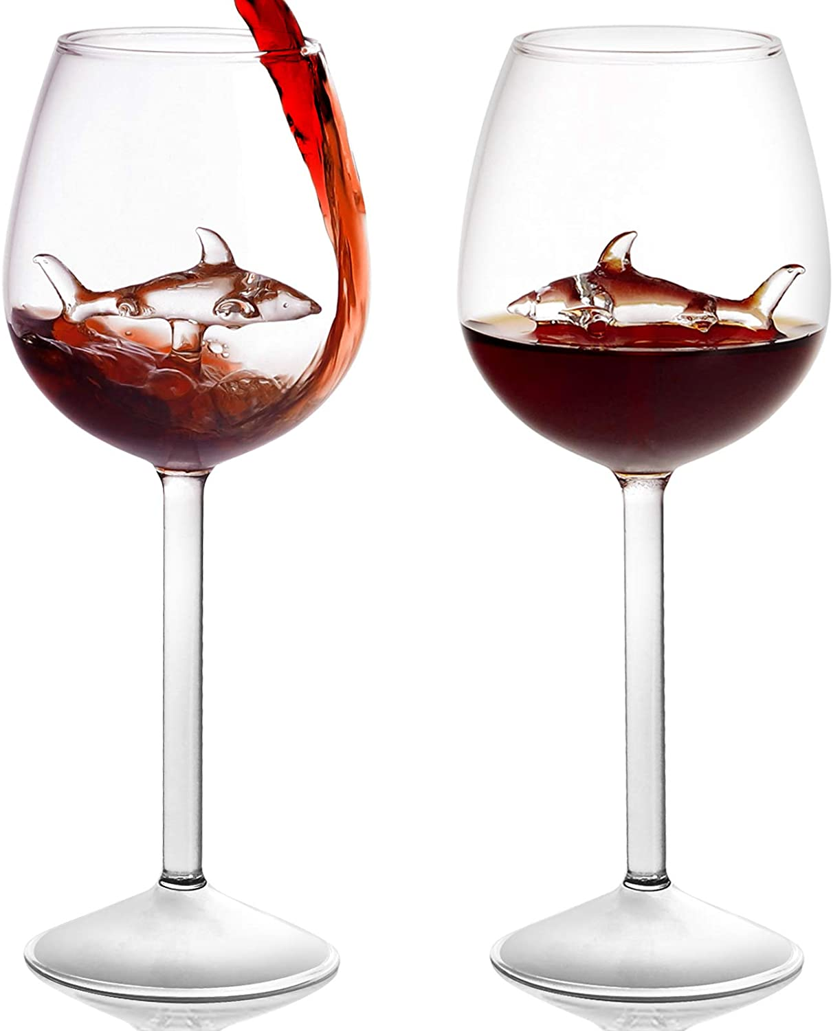 Shark Wine Glass with Shark Inside,Set of 2 Long Stem Red Wine Glasses,Crystal Clear Glass-for Women Men Wedding Anniversary Christmas Birthday,Shark Cup-10 Ounce