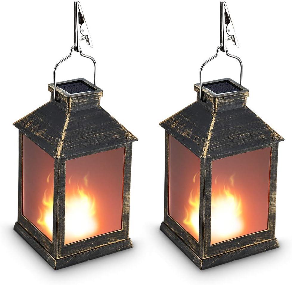 "10"" Vintage Style Solar Powered Lantern Fame Effect(Metallic Coating Black,Plastic),Solar Garden Light with Vivid Fire Effect,Outdoor Solar Hanging Lantern,Decorative Lanterns ZKEE (Set of 2)"