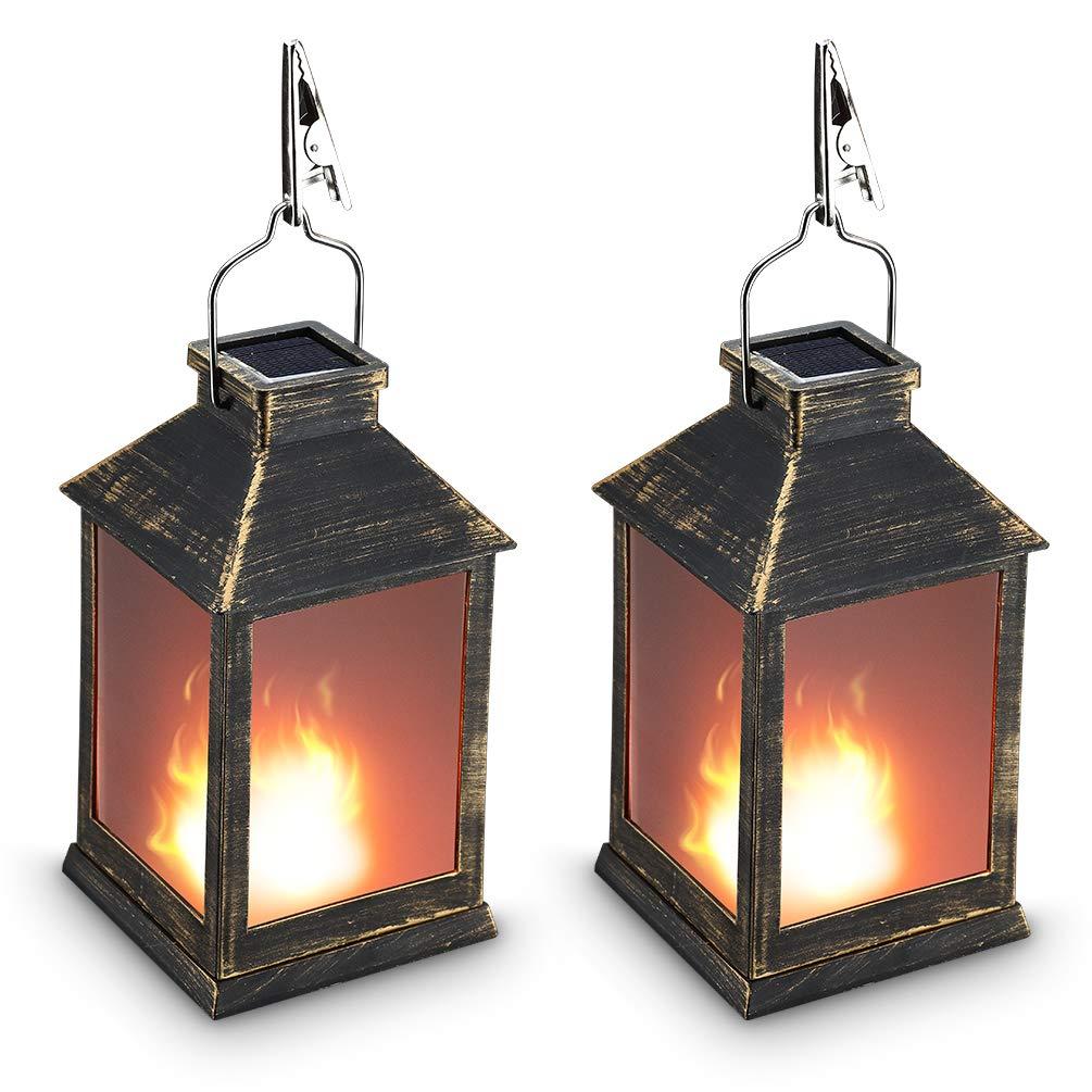 10'' Vintage Style Solar Powered Lantern Fame Effect(Metallic Coating Black,Plastic),Solar Garden Light with Vivid Fire Effect,Outdoor Solar Hanging Lantern,Decorative Lanterns ZKEE (Set of 2)