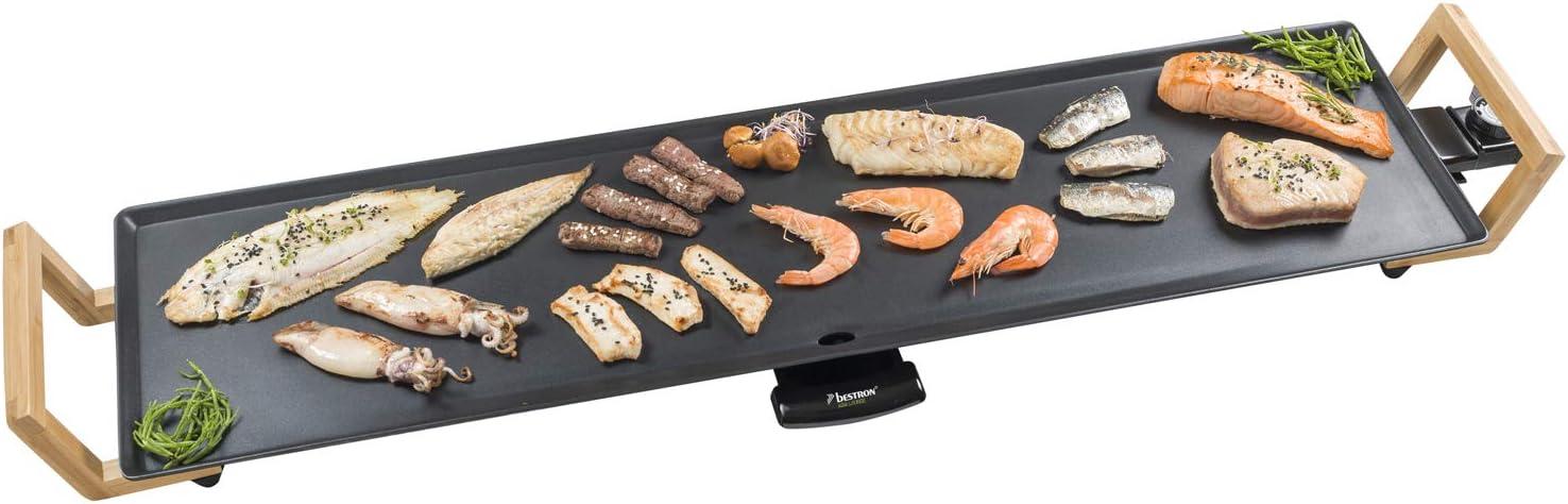 Bestron Plancha/Plaque de cuisson Teppanyaki XXL au design asiatique, Avec poignées en bambou, Asia Lounge, 1.800 W, Noire