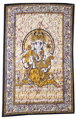 """Ganesh Ganesha Tapestry Wall Hanging Table Runner White Bed Cover India 84"""" X 55"""""""