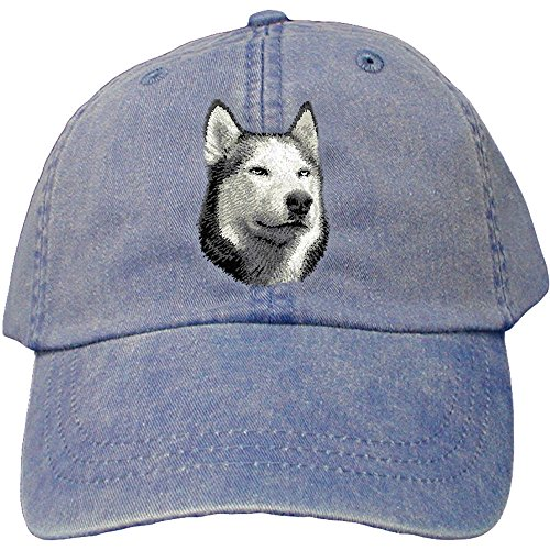 Cherrybrook Dog Breed Embroidered Adams Cotton Twill Caps - Royal Blue - Siberian Husky - Embroidered Siberian Husky