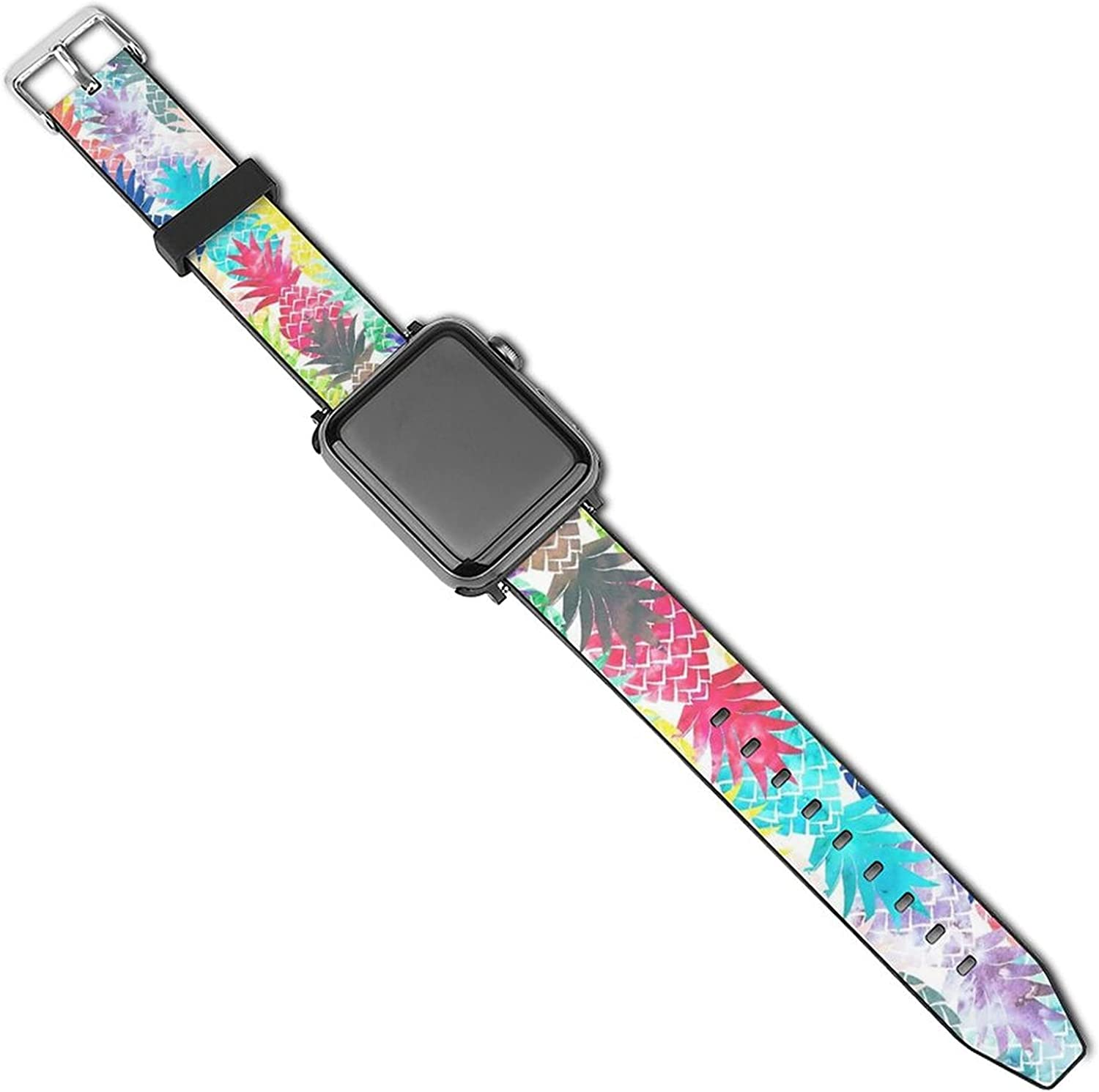 Hawaiian Pineapple Watercolor Apple Watch Bands 38mm 40mm/42mm 44mm, Soft PU Sport Replacement iWatch Bands Compatible for iWatch Series 5/4/3/2/1