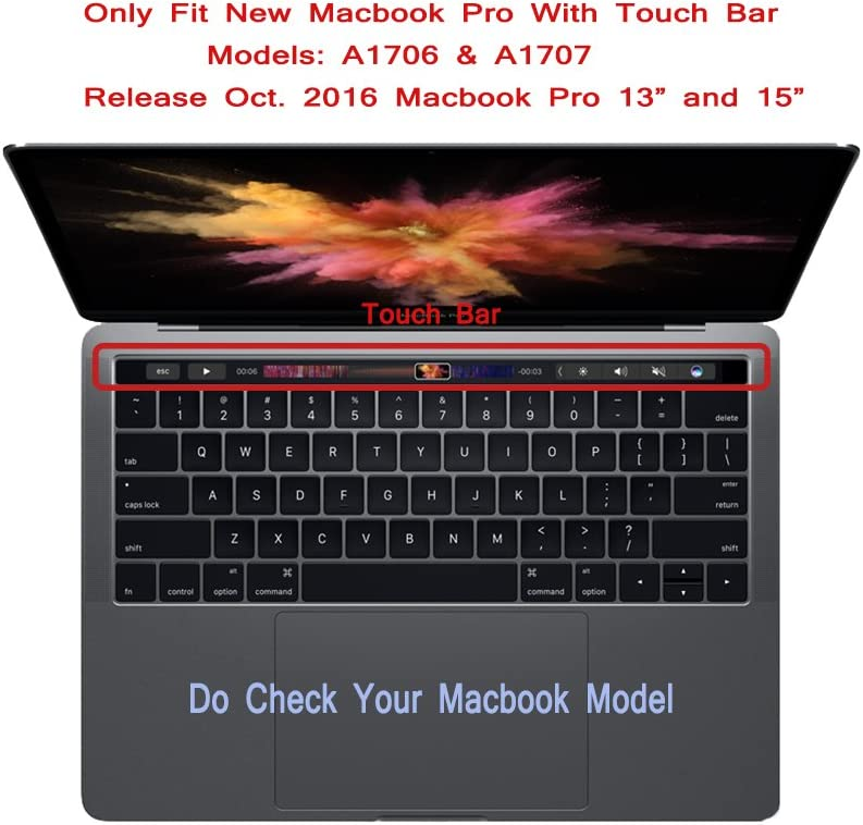 with Touch Bar Transparent-Clear US Layout Se7enline Keyboard Cover for New MacBook Pro 13 15 inch 2016//2017//2018//2019 Version Model A1706//A1707//A1989//A1990//A2159 Silicone Protective Cover Skin