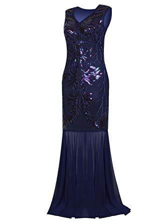 Vikoros 1920s Long Prom Dresses V Neck Beaded Sequin Gatsby Maxi Evening Dress