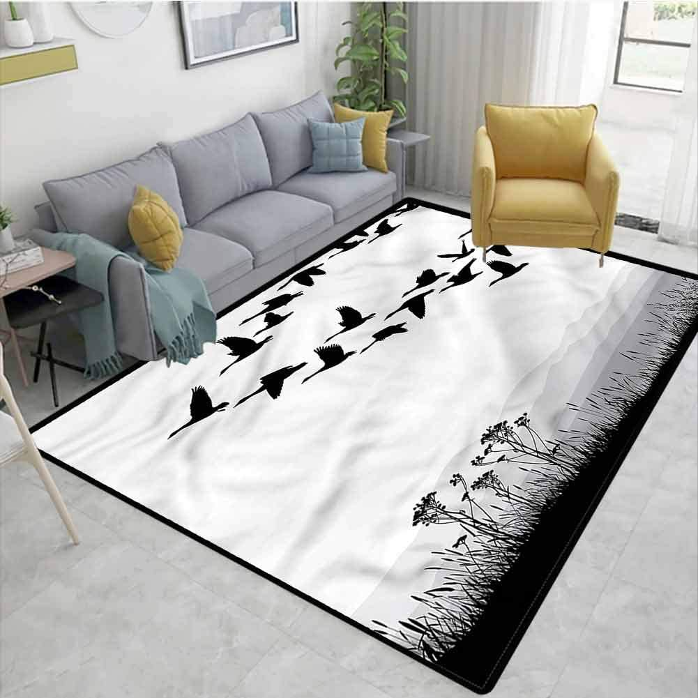 TableCoversHome Mountains Animals Door Mats Outdoors, Flying Geese Pattern Pattern Printing Carpet, Easy Maintenance Area Rug Living Room Bedroom Carpet (2.5'x 9')