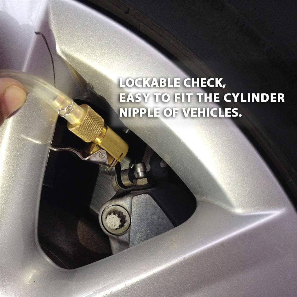 FIRSTINFO Hydraulisches Bremsenentl/üftungswerkzeug verriegelbarer Bremsfl/üssigkeitsentl/üftungsschlauch mit R/ückschlagventil Made in Taiwan