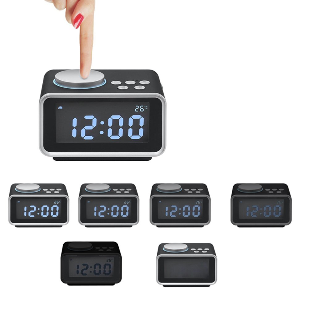 """Digital Radio Alarm Clock,3.2/""""LED Display FM Radio with Dual USB ChargingPorts,Snooze Aux in Music Speaker,Dimmer Battery Backup,Indoor Temperature and Outlet Powered for iphone Phone Bedside Desktop Orsera"""