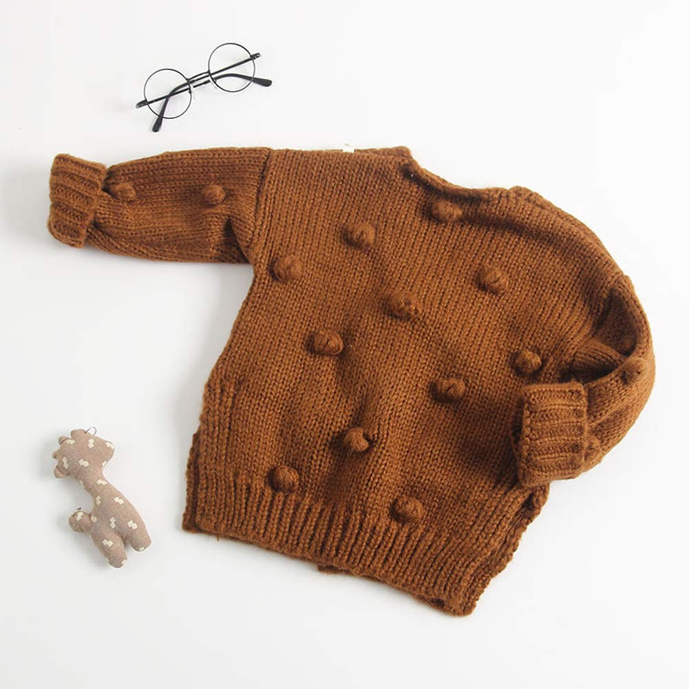 3b6bbe757be Amazon.com  Dragon Honor Baby Girl Cardigan Pompom Buttons Knit V-Neck  Sweater Autumn Winter Jacket  Clothing