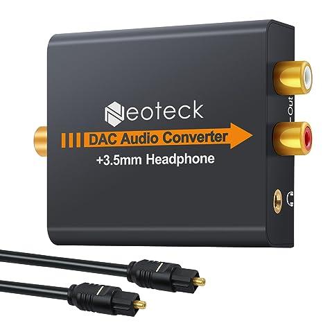 Neoteck DAC Convertidor de Audio Digital a Analágico Coaxial Óptico Toslink Señal a Adaptador de Audio Analágico RCA con Salida de Jack de 3,5 mm ...