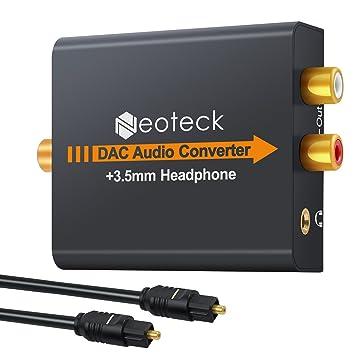 Neoteck DAC Convertidor de Audio Digital a Analágico Coaxial Óptico Toslink Señal a Adaptador de Audio