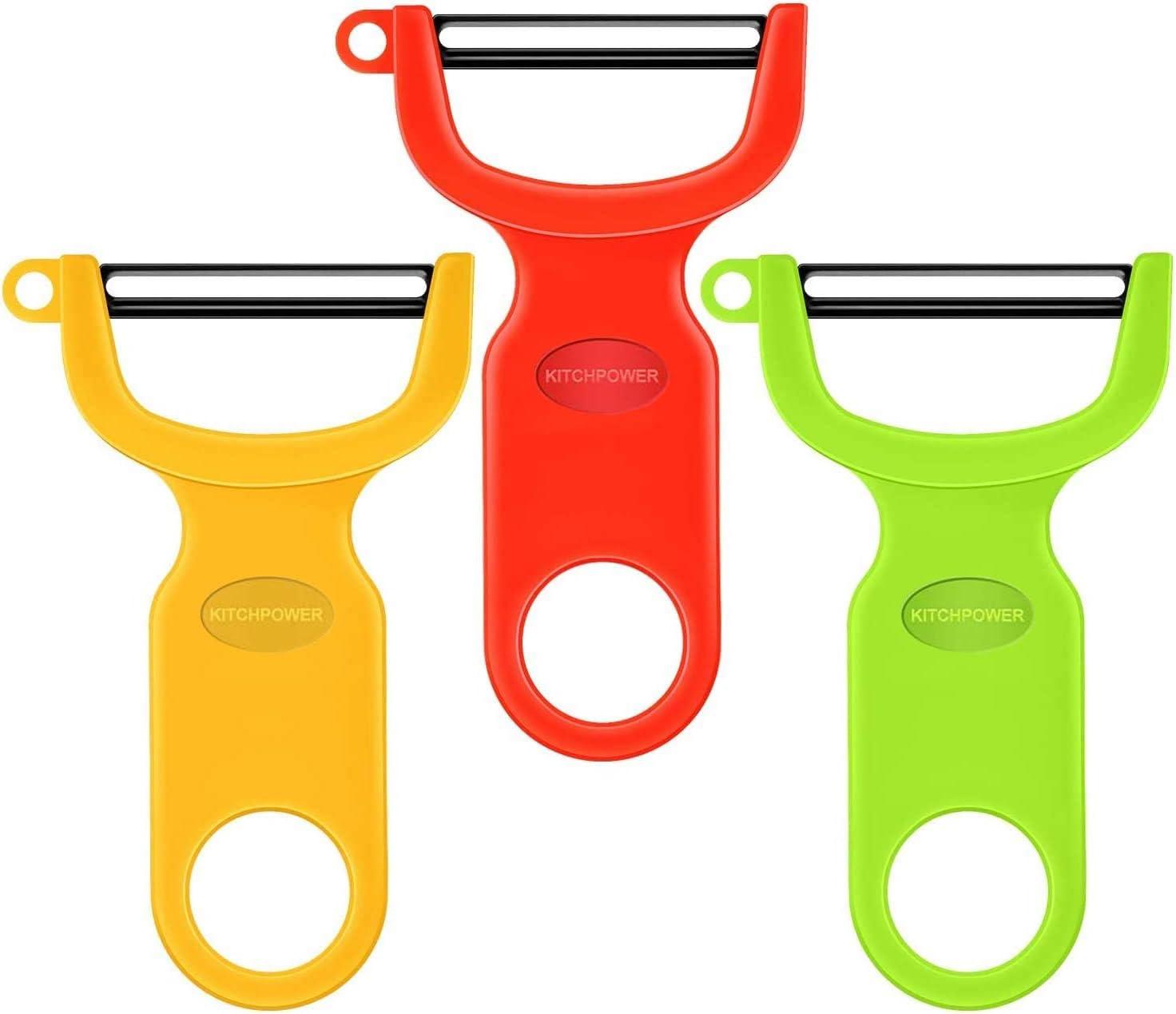 Original Vegetable Peeler Carbon Steel Blade 3-Pack Red/Green/Yellow
