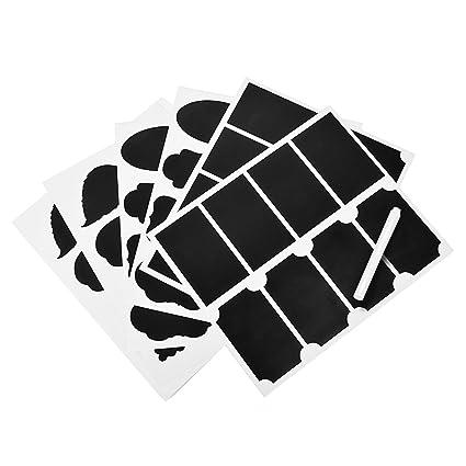 Newcomdigi 48 Pezzi Etichette Adesive Lavagna Riciclabili e Adesive Memo Stickers Impermeabili Riutilizzabili con 1 Pennarello Bianco Cucina Ufficio Scuola Casa Colore Nero