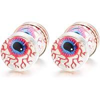 Evil Eye Dome Stud Earrings for Men Women, Steel Cheater Fake Ear Plugs Gauges