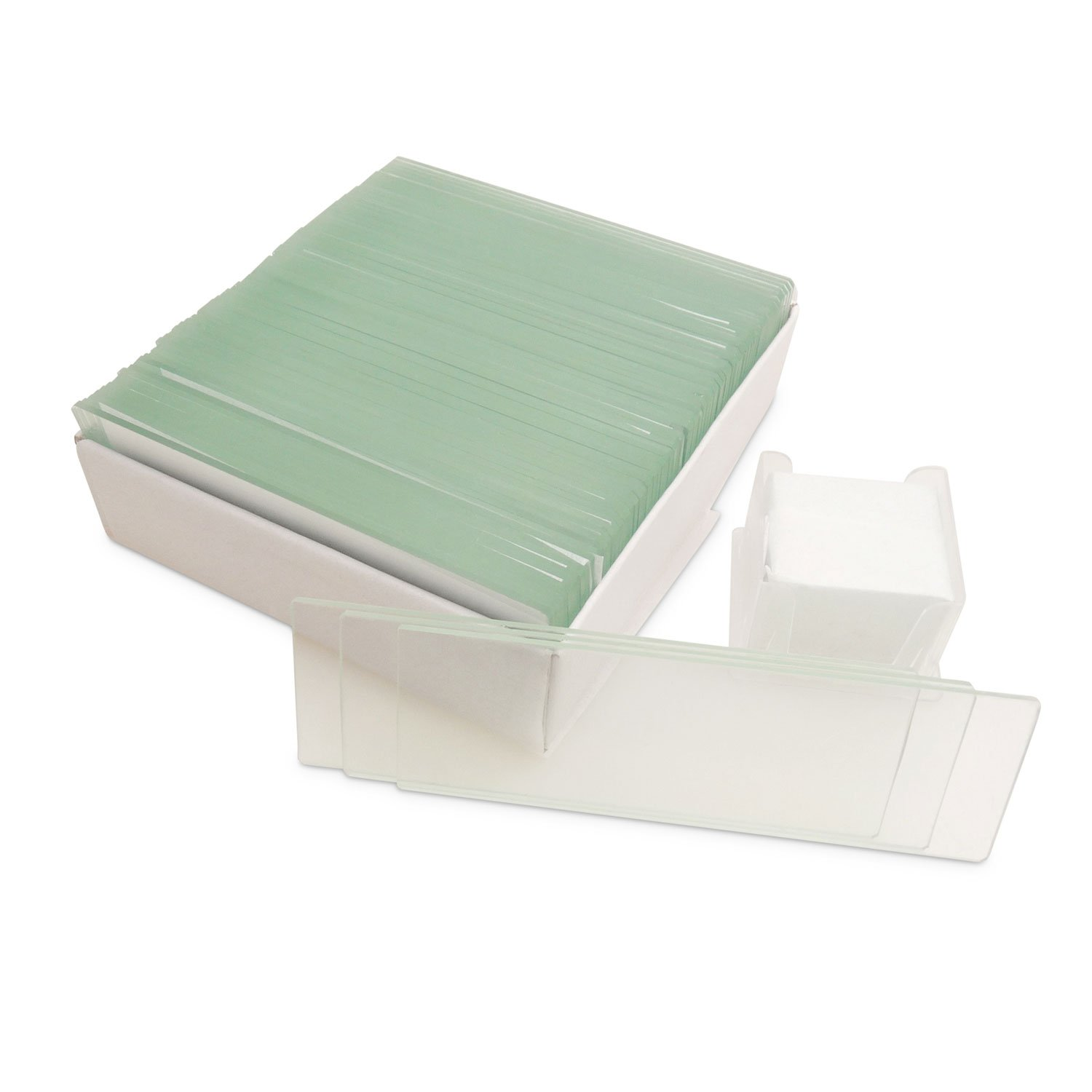 100pcs 22x22mm Square Coverslips Cover Glass 72pcs Pre-Cleaned Blank Microscope Slides with Ground Edges