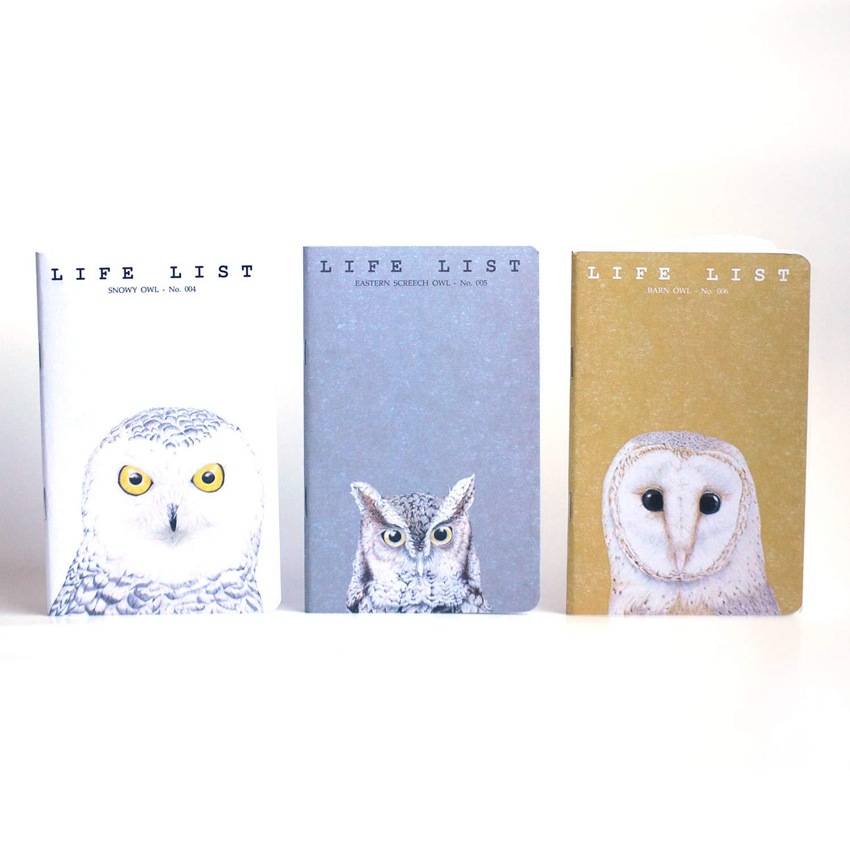 Owls Life List Notebooks Pocket Birding Notebooks Field Journals (3.5 x 5.5-inches, Set of 3) by Life List Notebooks