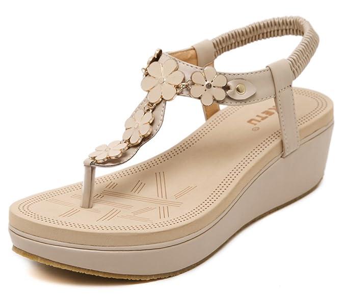 Aisun Damen Süß Blumen Metall T Spange Keilabsatz Sandalen Zehentrenner Beige 39 EU BuYMTMZgkQ