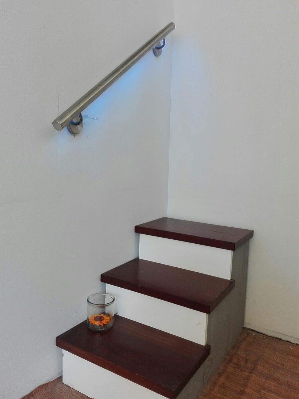 Pasamanos para escaleras de acero inoxidable con LED blanco natural multicolor predisposición LED: Amazon.es: Bricolaje y herramientas