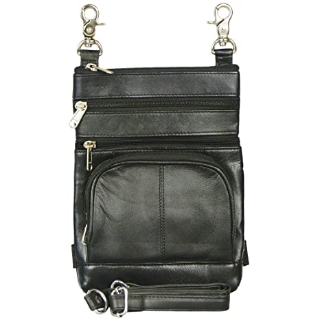 a103fa487bea Texcyngoods Biker Leather HIP Belt Waist Bag with Leg Strap Converts to  Crossbody Purse