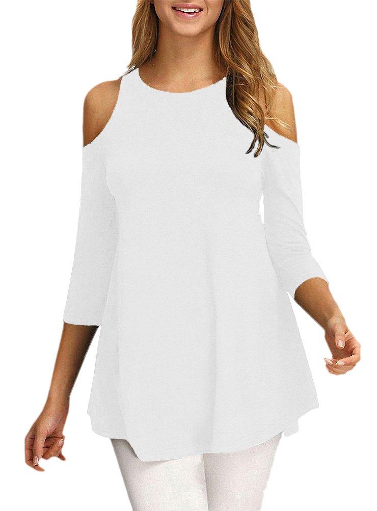Afibi Womens Cold Shoulder Half Sleeve Swing Tunic Tops for Leggings (X-Large, White)
