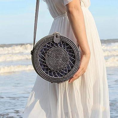 Amazon.com: AOLVO - Bolso de mimbre para mujer, tejido a ...