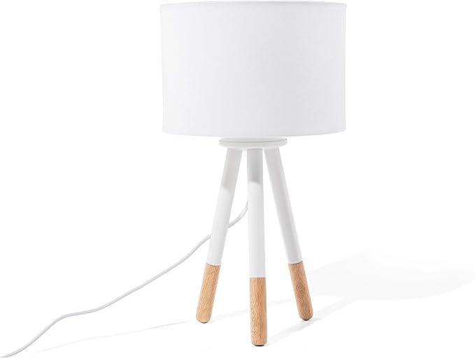 Beliani Lampe De Chevet Blanc Avec Petit Trepied En Bois Tobol