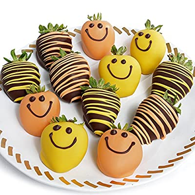 Belgian Chocolate Covered Strawberries - 12pc Smile Chocolate Covered Strawberries