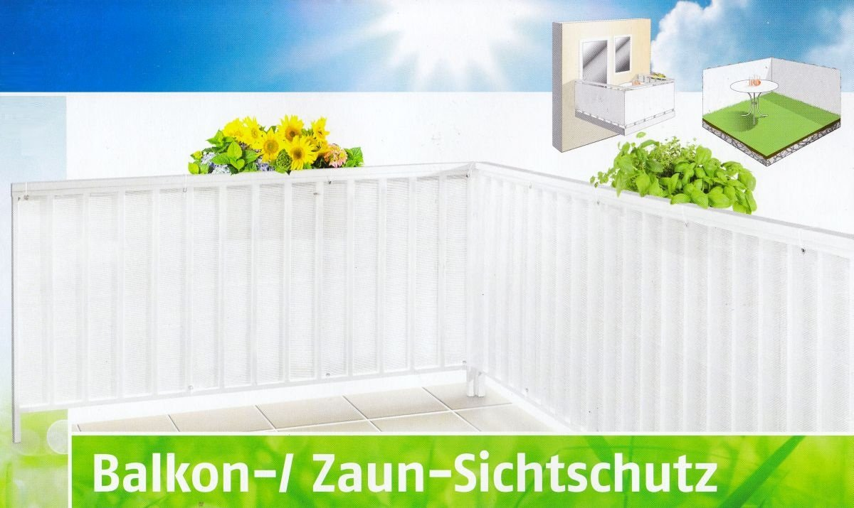 Florabest Balkon Zaun Sichtschutz weiß Maße 600 x 75 cm Lx H