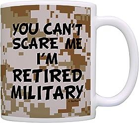 Retirement Gift Can't Scare Me I'm Retired Military Veteran Gift Coffee Mug Tea Cup Camo
