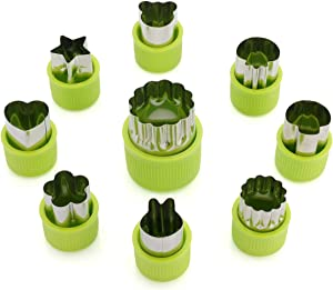 ONUPGO Vegetable Cutters Shapes Set - Cookie Cutters Fruit Mold Cheese Presses Stamps for Kids Shaped Treats Food Making Cute Cutouts for Customizing (9 Pack)