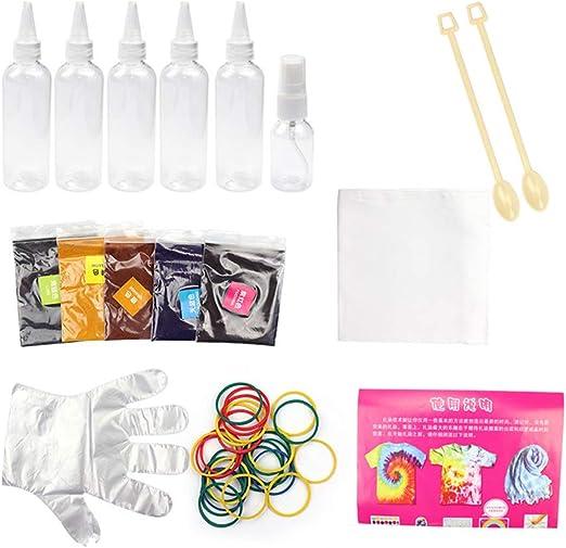 Cicony 12pcs un Paso Kit Tie Dye Vibrante Tela Textil Pintura Tie Dye Kit Espiral Arco Iris Hipster Pintura Colores