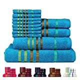 Casa Copenhagen Exotic Cotton 475 GSM 12 Pieces Bath, Hand & Washcloth Towels Set - Teal Sachet