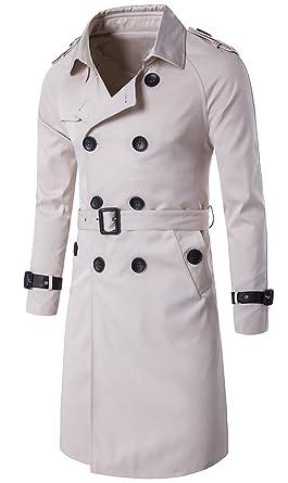 a867a1052b59 Scothen Herren Trenchcoat Lange Double Breasted Slim Fit Mantel Jacke  militärische Mantel Trenchcoat Jacke Übergangsjacke Sweatjacke