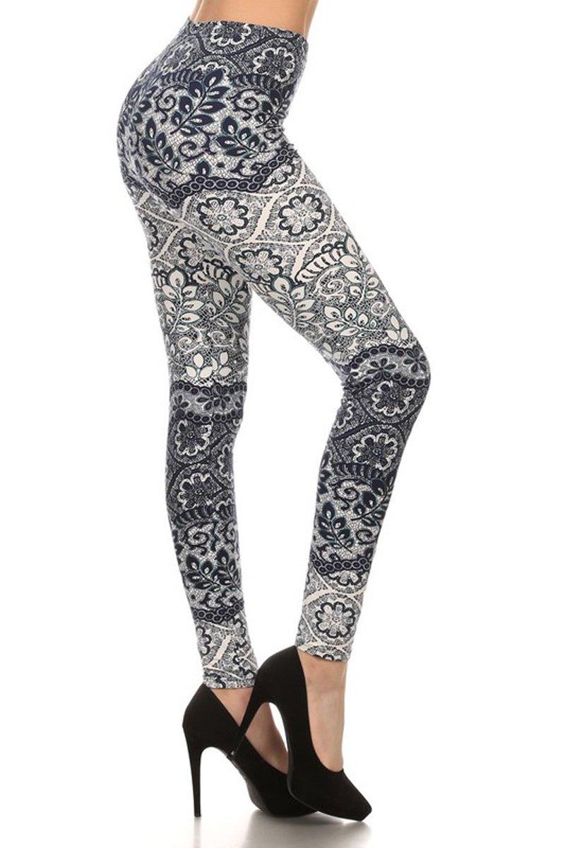 Leggings Depot Women's Fall/Winter Ultra Soft Popular Best Printed Fashion Leggings BAT16 (Plus Size (Size 12-24), Fine China)