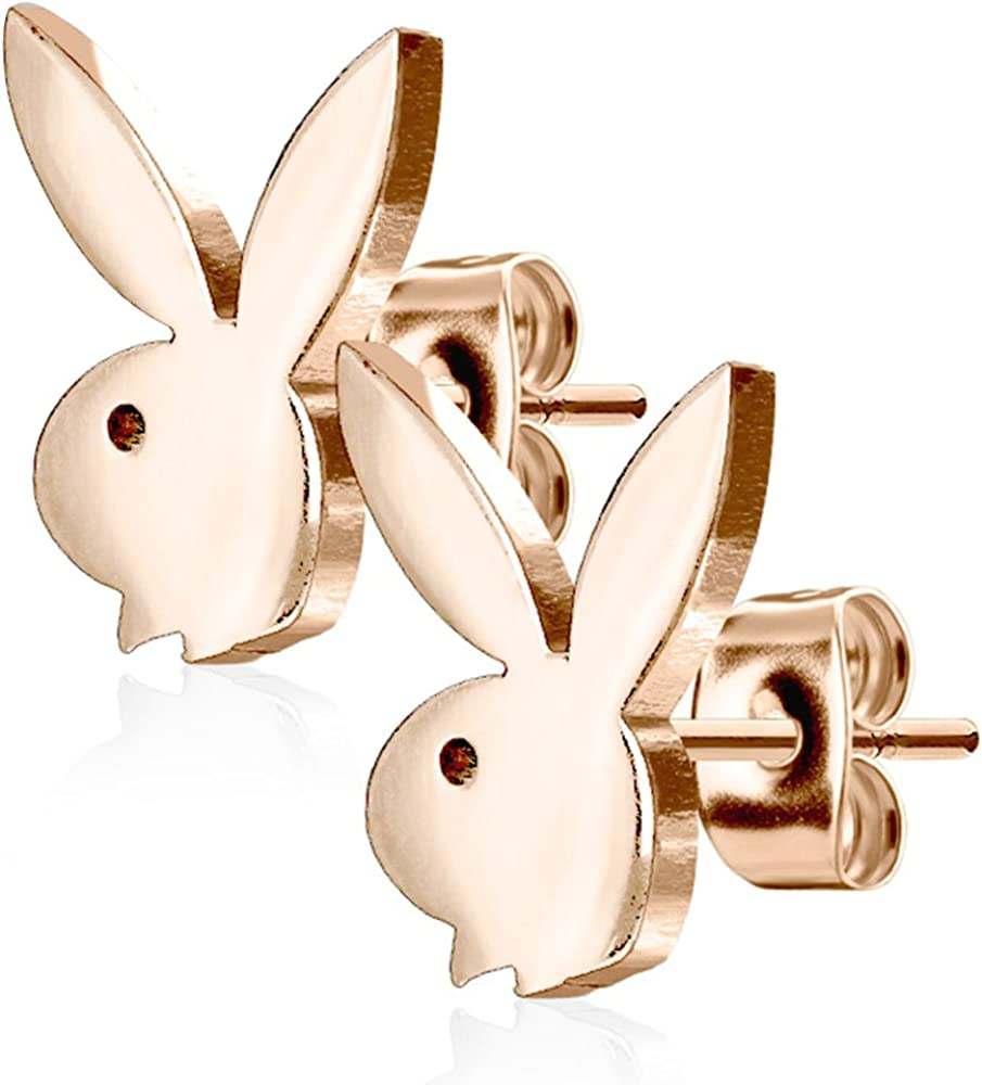 Silver Playboy License Pierce2GO Playboy 316L 20G Surgical Steel Bunny Earring Studs Plated for Women 0.8 MM