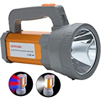 Super Bright Rechargeable LED Spotlight Flashlight High Powered 5000 Lumens CREE Handheld Searchlight Large Lithium Battery 10000mah Long Lasting Torch, Side Flood Light Camping Lantern Work Light USB Charges Phone