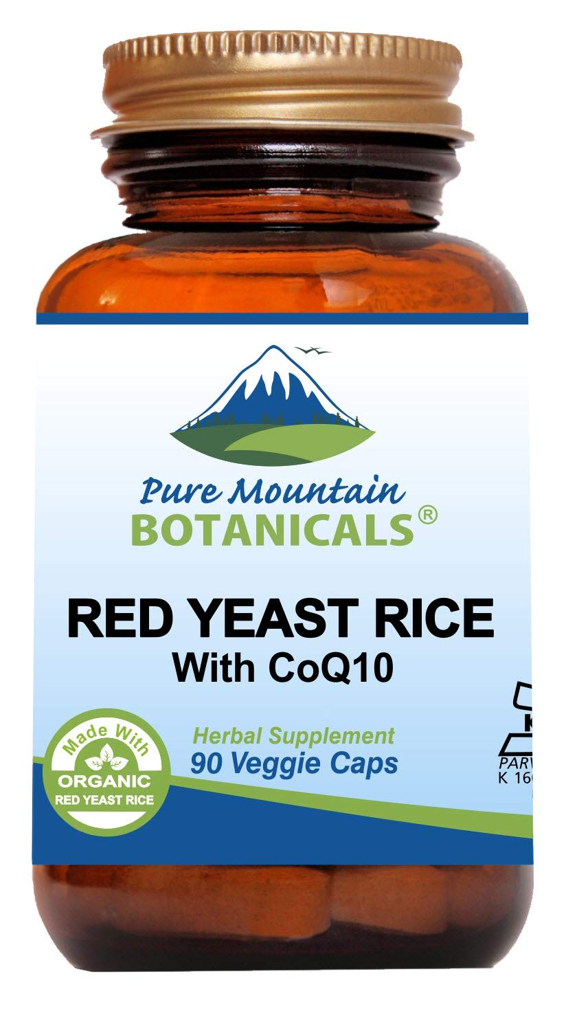 Red Yeast Rice with CoQ10 90 Kosher Vegan Capsules Now with 600mg Organic Red Rice Yeast Plus Co Q 10 - Natures Support for Cholesterol