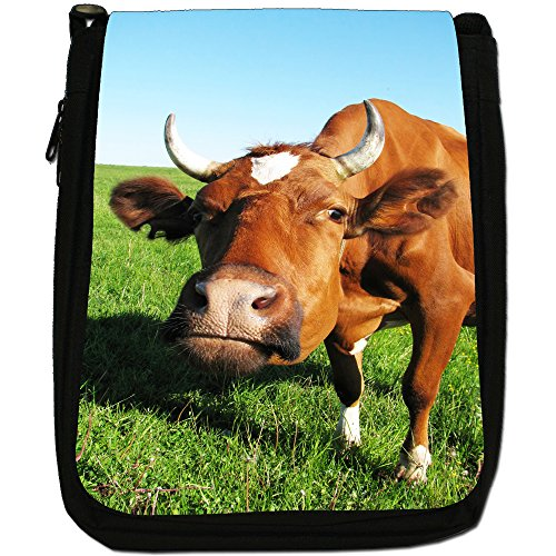 Black Brown Cow Canvas With Medium Shoulder Bag Horns Size SBY5q