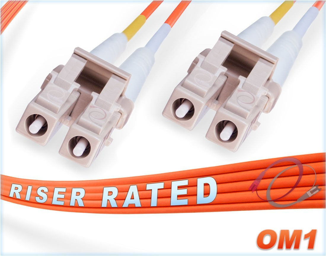 95M OM1 LC LC Fiber Patch Cable | Duplex 62.5/125 LC to LC Multimode Jumper 95 Meter (311.68ft) | Length Options: 0.5M - 300M | FiberCablesDirect | mmf lc-lc dx mm ofnr 62.5 lc/lc optical patchcord