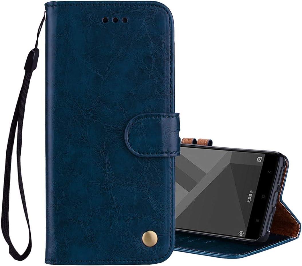 Carcasa de telefono for Xiaomi Redmi Note 4X Business Style Textura de Cera de Aceite Funda de Cuero con Tapa Horizontal con Soporte y Ranuras for Tarjetas y Billetera (Negro) (Color : Azul)