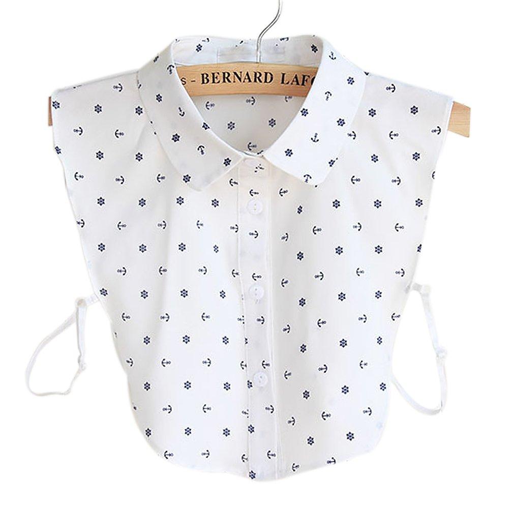 BeToper Mujeres Cuello Desmontable Mitad Camiseta Blusa en algodó n Color Blanco