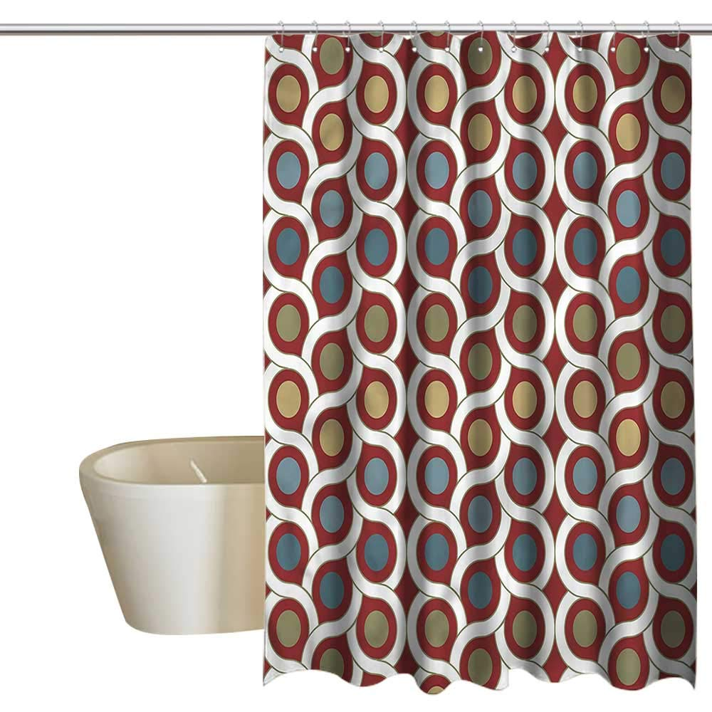 Denruny Shower Curtains Teal and Black Geometric,Pattern with Dots Circles,W72 x L84,Shower Curtain for Girls Bathroom