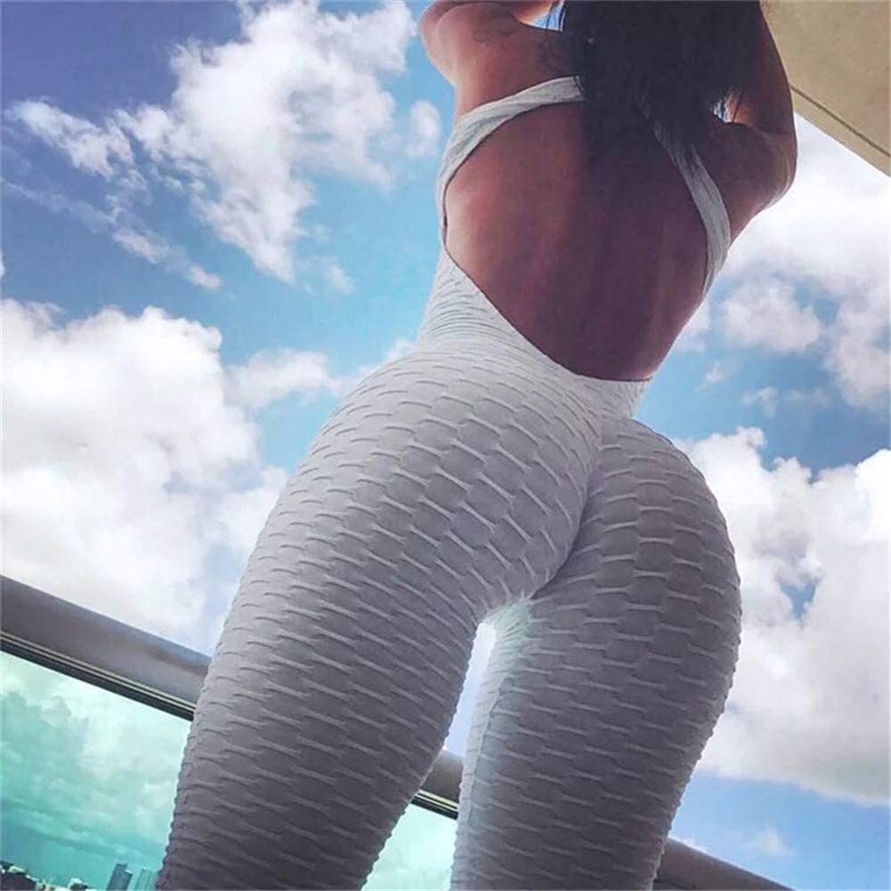Yoga Pants Jumpsuit Stretchy Skinny Tummy Control Workout Gym Leggings Womens High Waist Ruched Butt Lift Jumpsuit