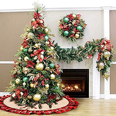 Plaid, 48 48 Diagtree Linen Burlap Christmas Tree Skirt Red Black Plaid Ruffle Edge Border Large 48 inches Round Indoor Outdoor Mat Xmas Party Holiday Decorations