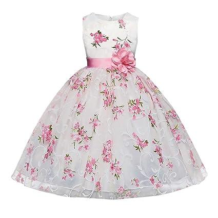 SamMoSon Robe Fille 10 Ans,Vêtements Fille Enfants des Gamins Filles Floral  Princesse Floral Robe Fête sans Manches Tutu Robe,