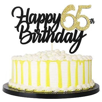 Sensational Amazon Com Palasasa Black Gold Glitter Happy Birthday Cake Topper Personalised Birthday Cards Veneteletsinfo
